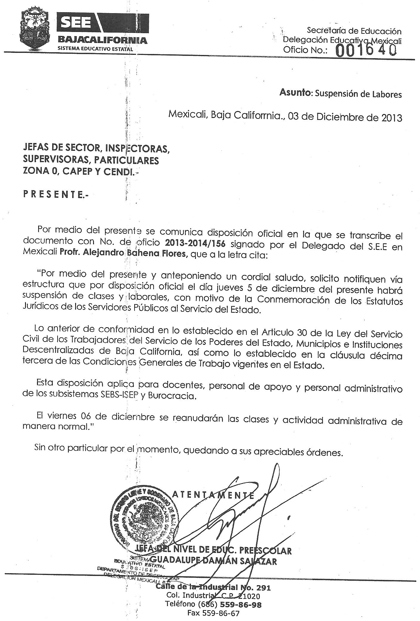 Oficio Suspension De Clases